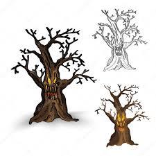 halloween monsters halloween monsters isolated spooky haunted tree set u2014 stock