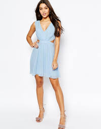 asos side cut out mini dress in blue lyst