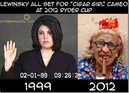 Monica Lewinsky Meme - lee westwood lines up monica lewinsky for ryder cup cigar girl cameo