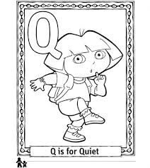 Dora Plays With Letter Q Alphabet Learning Coloring Pages Coloring Pages Q