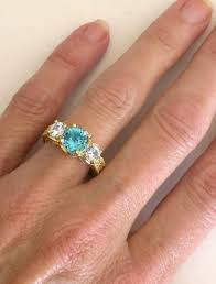 zircon engagement rings three blue zircon rings with engraving in 14k yellow gold