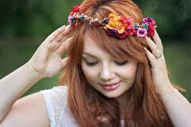 hair wreath autumn flower crown hair wreath whimsical orange brown wedding
