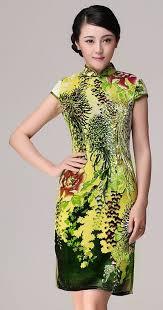 green chrysanthemum floral silk velvet short chinese qipao dress