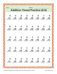 addition timed 0 5 math worksheets