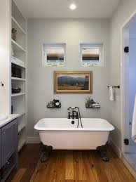 grey wall color with white clawfoot tub for tiny bathroom designs