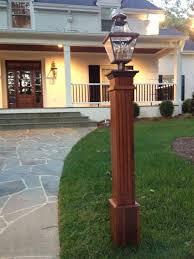 Madison Solar Lamp Post Planter by Cedar Lamp Post To Match Cedar Shingles And Red Brick Grey Stucco