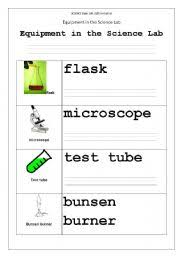 english worksheets equipment in the science lab part1
