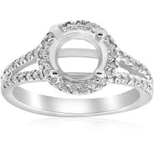 engagement ring setting 1 2ct halo split shank diamond engagement ring setting 14k white