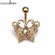luxury 1pc gold color butterfly navel belly button rings