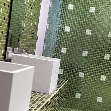 bathroom mosaic tile floor wall glass green togama