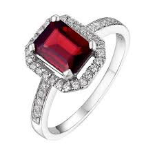 ruby emerald rings images Helenite halo ring rectangle shape emerald or ruby red silver jpg