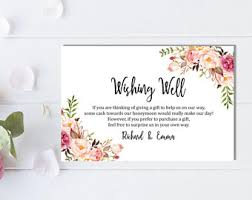 wedding wishes gift registry honeymoon wish printable card wedding wishing well insert