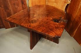 Walnut Slab Table by Custom Contemporary Rustic Burl Claro Walnut Slab Table