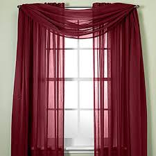 Sheer Maroon Curtains Two Panels Curtain Modern Solid Living Room Polyester Material