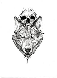 kevin mcnulty wolf and skull design i available