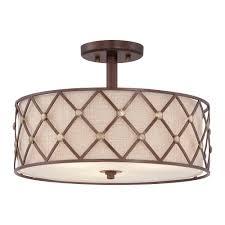 Semi Flush Ceiling Lights Lamp Quoizel Brown Lattice Semi Flush Ceiling Light In Copper