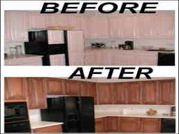 restaining oak kitchen cabinets before and after
