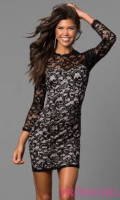 black sequined lace short party dress promgirl