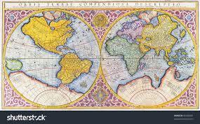 Mercator World Map by Orbis Terrae Compendiosa Descriptio 16th Century Stock Photo