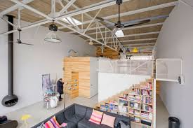 architecture garage interior concept of modern mezzanine loft