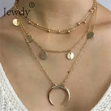 boho layered necklace images Jewdy boho multi layer necklaces ox horn pendants for women jpg