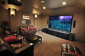 small home theater room ideas red color curve shape sofas