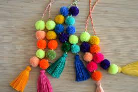 pom pom bag charm tassel bag charm neon pink tassel bag charm