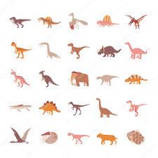 prehistoric animals color vector icons u2014 stock vector naripuru