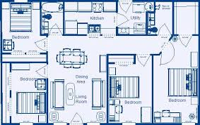 four bedroom floor plans imposing ideas 4 bedroom 2 bathroom house floor plans 1232 sq ft 4