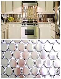 charming grey color metal tile kitchen backsplash with stack bond