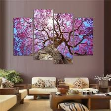 Canvas Home Decor Cherry Blossom Painting 4 Panel Wall Canvas Wall Canvas Cherry