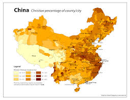 A Map Of China by Christianity In China Map By County And City Xpost From R Mapporn