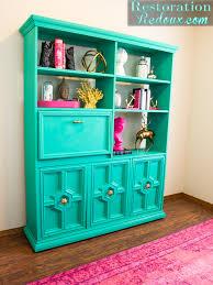 green retro bookshelf makeover restoration redoux