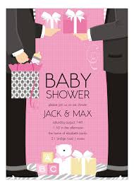 couples baby shower invitations pink two dads classic baby shower invitation girl baby