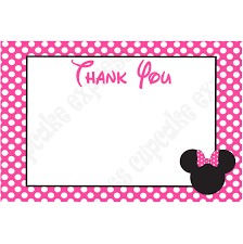 minnie mouse thank you cards minnie mouse printable 4x6 thank you card pink