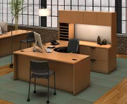 Computer Desk With Shelves by U Shape Light Brown Wooden Computer Desk With Double Hutch Plus