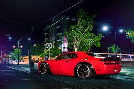 Dodge Challenger Lights - picture dodge challenger srt red auto night time street lights