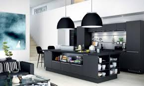 captivating open floor apartment kitchen design with matte black