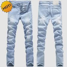 mens light blue jeans skinny high quanlity 2017 light blue men washing stretch leg pencil pants