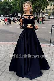 evening gowns black two pieces evening gowns sleeves satin prom dress