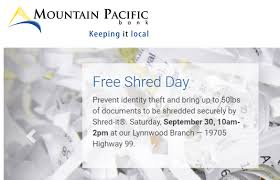 where to shred papers for free free document shredding at mountain pacific bank on saturday sept