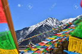 Tibetan Flags Tibetan Prayer Flags On Mountain Stock Photo Picture And Royalty