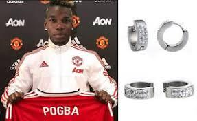 mens huggie earrings men s boy s utd pogba 18ct white gold plated diamond effect