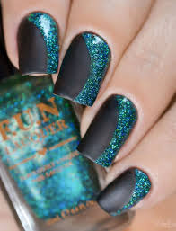 65 winter nail art ideas matte black nails green glitter and