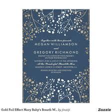gold foil effect navy baby u0027s breath wedding invitation card custom