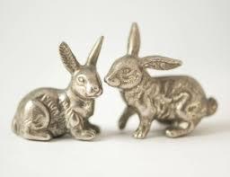 rabbit home decor vintage bunnies easter bunny small metal figurines rabbit home