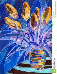 Dark Purple Vase Abstract Flowers In A Vase Stock Illustration Image 42115078