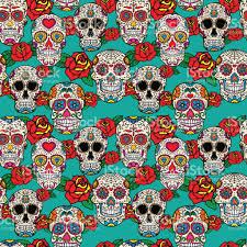 dia de los muertos sugar skulls seamless pattern with sugar skulls and roses dead day dia de los
