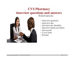 Cvs Pharmacy Resume Cvs Pharmacy Interview Questions And Answers