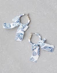 bandana bow aeo bandana bow hoop earring blue american eagle outfitters